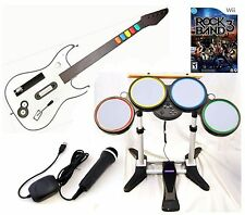 NEW Nintendo Wii-U/Wii ROCK BAND 3 Game Set w/Wireless Guitar Drums Mic bundle
