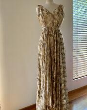 Aje Print Maxi Dress Leather Detail Size 10