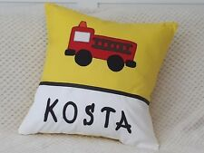 CHILD'S/BOY'S PERSONALISED NAME CUSHION COVER /NURSERY/GIFT/ - FIRE ENGINE-