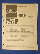 Pioneer Pl-5 Pl-420 Turntable Service Manual Factory Original The Real Thing