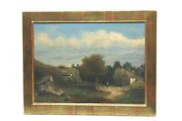 Altes Gemälde Frau mit Kapelle