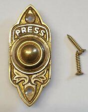 Solid Brass Antique Victorian Style Retro Gothic Rectangular Bell Push Door