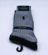 Ralph Lauren Polo Dress Socks 2 Pairs Black And Grey Egyptian Ribbed Cotton New