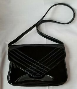 Vintage Unbranded Purse Black Faux Patent Leather Shoulder Bag