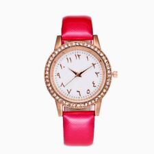 Arabic Numeral Watch with Red Leather strap, Rose gold face, Diamante crystal