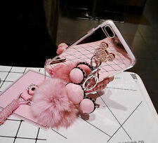 2in1 Shockproof Girly TPU Glitter Sparkle Bling Fuzzy Rabbit Fur Ball Case Cover