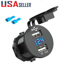 12V Cigarette Lighter Socket Dual USB Ports Adapter LED Display For Car Boat ATV