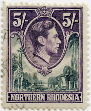 NORTHERN RHODESIA KG6 FIVE SHILLINGS SG44 FINE USED