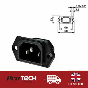 Schurter C14 IEC Male Inlet Panel Mount Quick Connect Terminal Adaptor 15A 250V