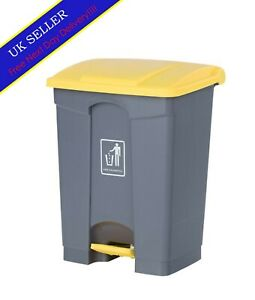 68L Grey Yellow Plastic Fire Prohibited Warning Sign Refuse Waste Pedal Bin