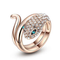 Hot Fashion 18K Rose Gold Plated Austrian Crystal Snake Ring Women Size 6 7 8