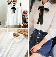 Fashion Sexy Women Chiffon Long Sleeve T-Shirt Tops Blouse Peter Pan Collar Tops