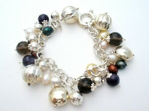 Italian Sterling Silver Link Charm Bracelet with Beads & Freshwater Pearls W