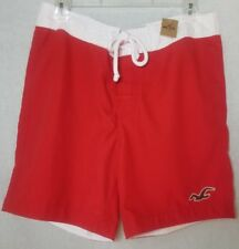 Hollister Board Shorts men's swim trunks Red White Size Medium New with tags