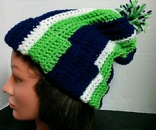 Seattle Seahawks Slouchy Beanie Hat Handmade Crocheted New - Fits Adults & Teens
