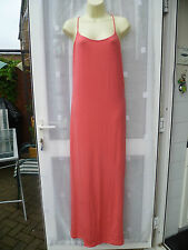BEAUTIFUL CORAL STRETCHY STRAPPY V BACK MAXI DRESS WITH DEEP SIDE SPLITS SZ 20