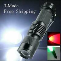 LED Flashlights Red/Blue Beam Night Vision Torch For Astronomy Camping Hunting*1