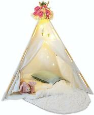 Kids Teepee Tent for Kids - With Fairy Lights - Feathers & Waterproof Base New