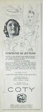 PUBLICITÉ DE PRESSE 1938 BOITE POUDRE COTY TEINTES PECHE NOISETTE GITANE
