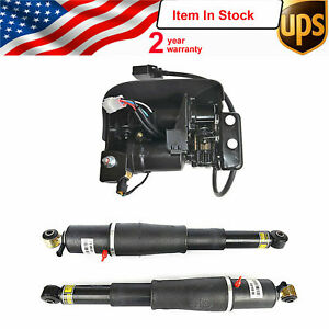 Pair Air Suspension Shocks+Compressor Pump For Cadillac Escalade Suburban GMC US
