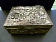 ANTIQUE, CHINESE DRAGON THEMED, SILVER PLATED TRINKET BOX.  CHINESE DRAGON CHEST
