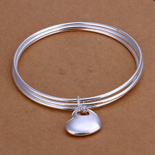 Unisex 925 Sterling Silver Heart Bangle Charm Bracelet L68