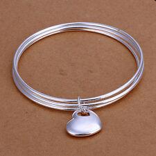 Unisex 925 Sterling Silver Heart Bangle Charm Bracelet L68
