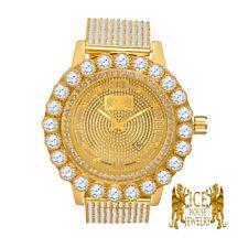 Mens Yellow Gold Iced Out Bezel Khronos Jojino Joe Rodeo Genuine Diamond Watch
