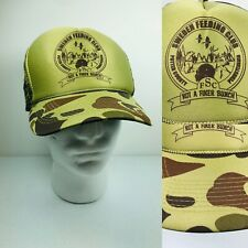 Vintage Trucker Hat Sweden Feeding Club Cap Mens Camo Potter County PA Hunting