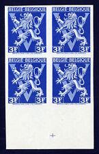 BELGIUM — SCOTT 350v — 1944 3f LION RAMPANT — MNH IMPERF BLOCK/4 — BLUE COLOR