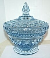 """Vintage Anchor Hocking Glass Candy Dish Low Compote w/ Lid Wexford Blue 7"""" Tall"""