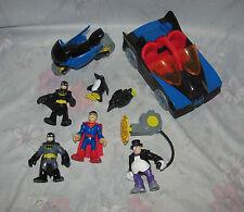 Fisher Price Imaginext Batman Batmobile Motorcycle 4 Figure - Penguins, Superman