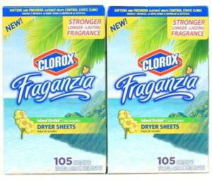 2 Boxes Fraganzia Island Orchid Stronger Long Lasting 105 Ct Dryer Sheets