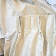 "Custom 100% SILK Ivory Cream Beige FRENCH PLEAT Lined 37""x84"" Drape Curtain"