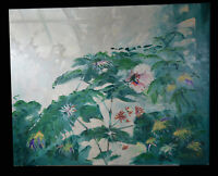 """30"""" Oil Painting Canvas Still Life Spring Flowers Greenery Art Henry Lavell"""