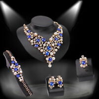 18K Gold Crystal Pearl Decor Necklace Ring Earrings Bracelet Fashion Jewelry Set