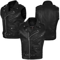 2Fit™ Men's Black Cowhide Genuine Leather Stylish vest for biker adjustable belt
