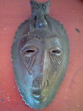 ANCIEN TRES BEAU MASQUE ART AFRICAIN BAOULE 1970 en terre cuite