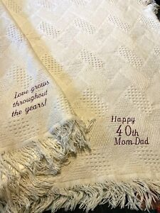 40th Anniversary Throw woven blanket Cotton gift parents grandparents