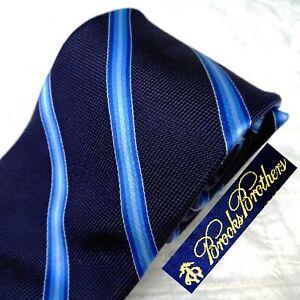 BROOKS BROTHERS Woven England Dark Blue 100% Silk Grenadine Neck Tie w/ Stripes