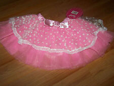 Child One Size Pink White Hearts  Dance Tutu Skirt Costume Petticoat Pretty Chic