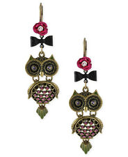 Betsey Johnson CREEPY CRITTERS Owl Pink Rose Antiqued Gold-Tone Drop Earrings