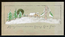 Vintage 1910's Arts & Cfrafts era Hand made painted Cottage Scene Christmas Card