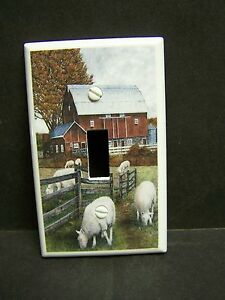 COUNTRY FARM RED BARN LAMB LAMBS SHEEP   LIGHT SWITCH COVER PLATE OR OUTLET
