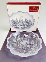 "NIB Celebrations by Mikasa Winter Wonderland Collection Clear Glass Dish 7.25"""