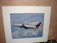 DELTA AIR LINES - 767 IN-FLIGHT CLOUDS LEFT - MOUNTED ON HARD BOARD - 28 X 24 -