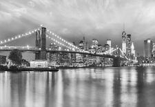 Murale Géante papier-peint photo Pont de Brooklyn New York noir et blanc