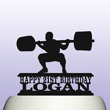 Personalised Acrylic Powerlifting Squat Mens Birthday Cake Topper