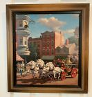 """Vintage Paul Detlefsen Lithograph Print """"Rushing to a Fire"""" Firefighter"""