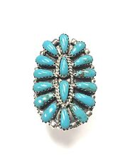 Native American Navajo Cluster Turquoise Sterling Silver Ring Size 5.5